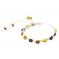 Bracelet ambre multicolore sur ficelle blanche