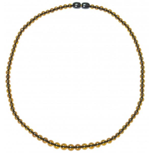 Collier perle d'ambre extra ronde de couleur verte
