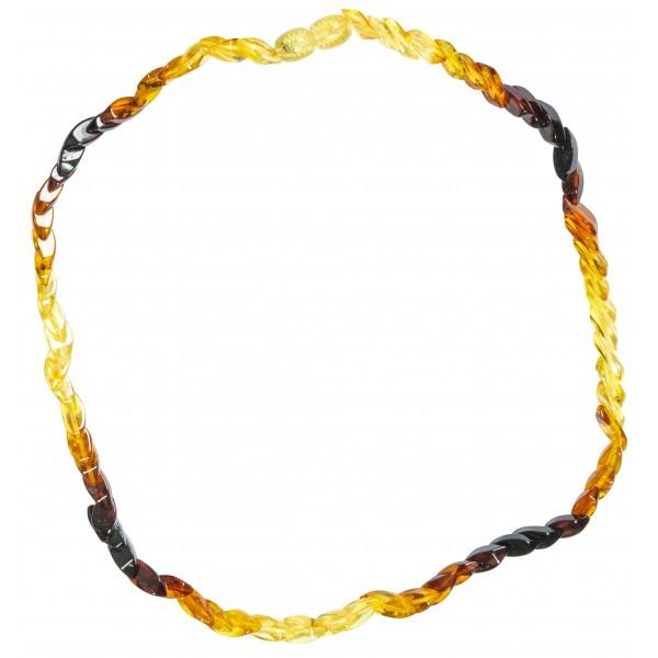 Kleine Halskette bi-Bernstein Erwachsene (Zitrone und Schnaps)