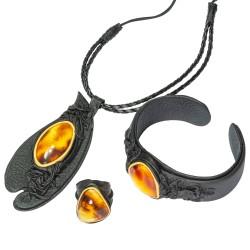 Parure d'ambre couleur miel et cuir noir (Collier, Bracelet & Bague)