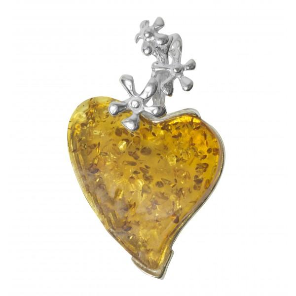 Pendentif ambre miel et argent 925/1000 forme coeur avec fleur