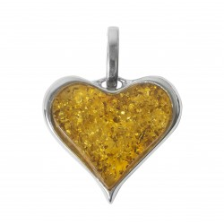 Amber cognac pendant and silver 925/1000 rectangular shape