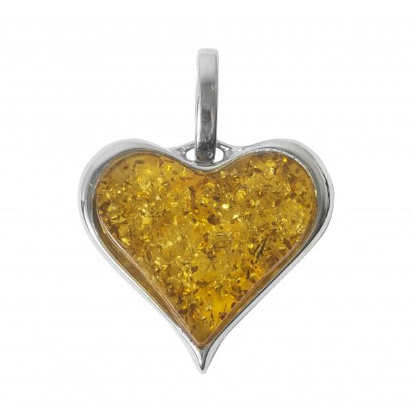 Bijoux pendentif coeur en Argent massif et ambre jaune