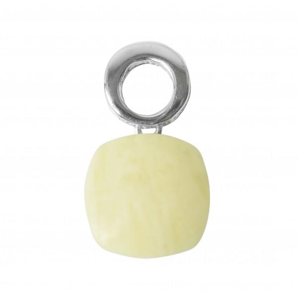 Pendentif en Argent et ambre naturel couleur blanc