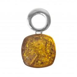 Squircle pendentif en Argent et ambre naturel couleur miel