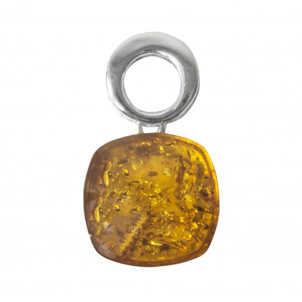 Pendant in silver and amber natural white color