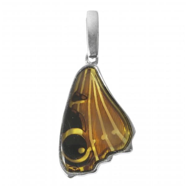 Pendentif aile de papillon en ambre et argent 925/1000 butterfly wing
