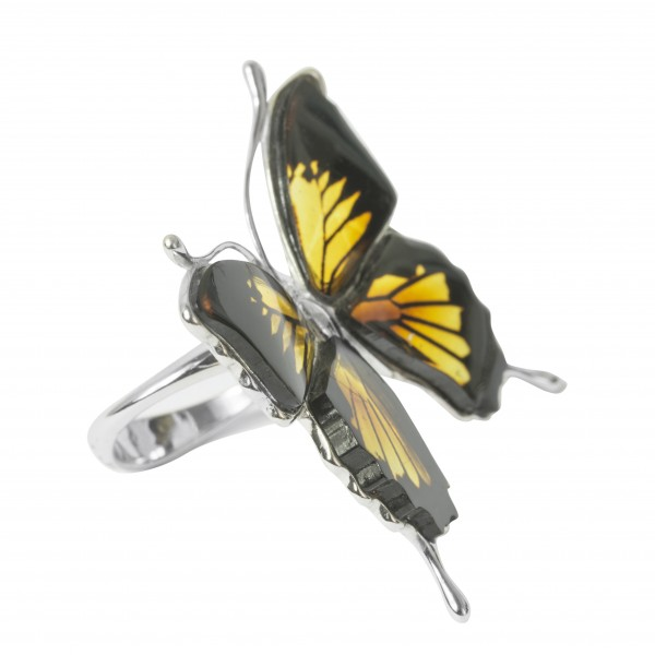 Bague papillon en ambre et argent 925/1000