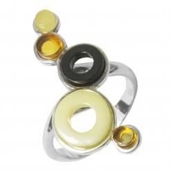 Bague ambre et argent 925/1000 accompagnée de cercle et anneau