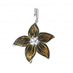 Pendentif fleur tropical en ambre et argent 925/1000