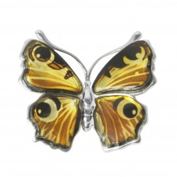 Pendentif papillon ambre et argent 925/1000