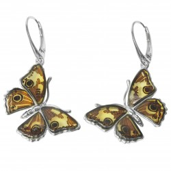 Boucle d'oreille papillon argent & Ambre Naturel