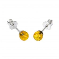 Green amber ball stud earrings with silver