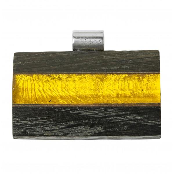 Large pendentif en bois précieux avec ambre miel
