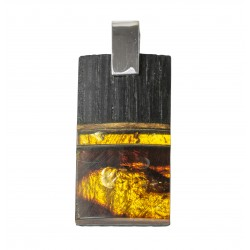 Large precious wood pendant with honey and royal amber