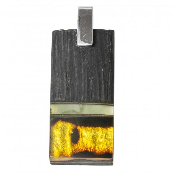 Large pendentif en bois précieux avec ambre miel et blanc