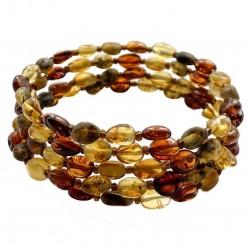 Bracelet Ambre multicolore poli et brut 4 tours