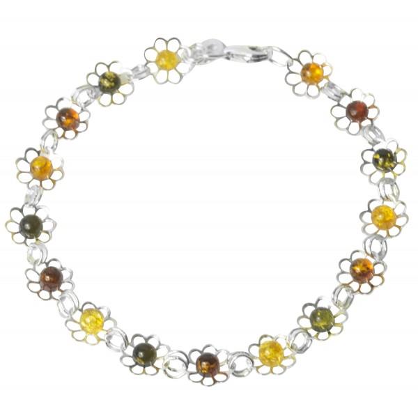 ambra braccialetto colorato e argento 925/1000