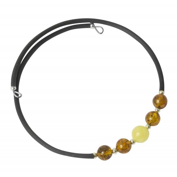 Bracelet Accordéon 1 tour en ambre multicolore