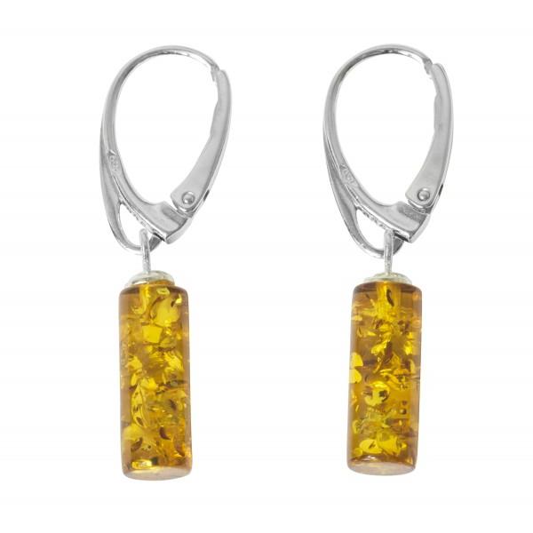 Boucle d'oreille ambre jaune et argent