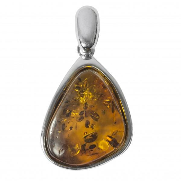Pendentif d'ambre cognac en Argent Massif