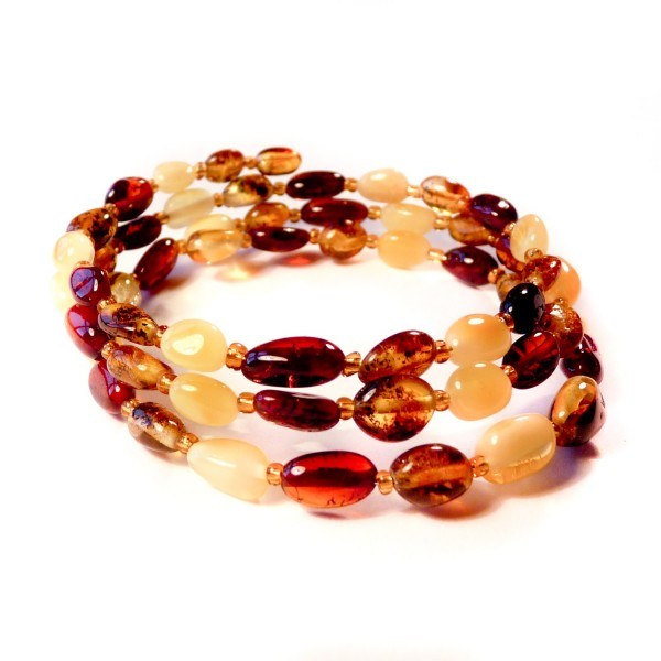 Bracelet en ambre multicolore 3 tours