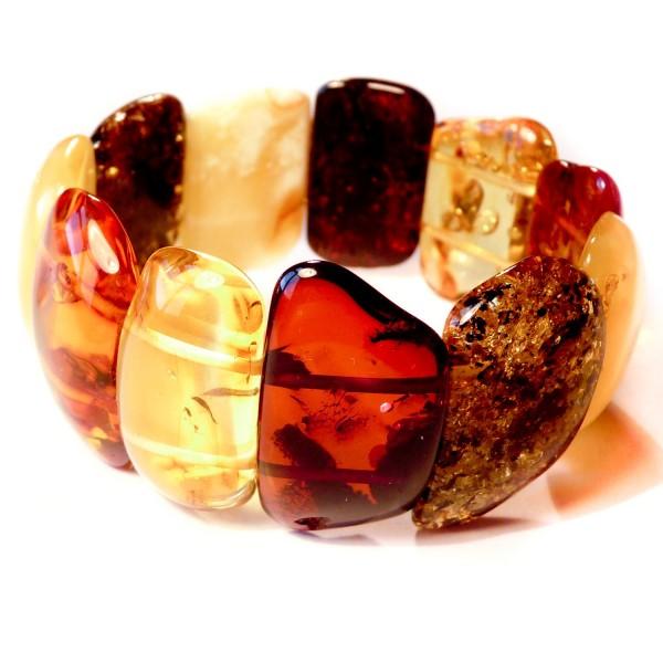 Gros Bracelet en Ambre Multicolore