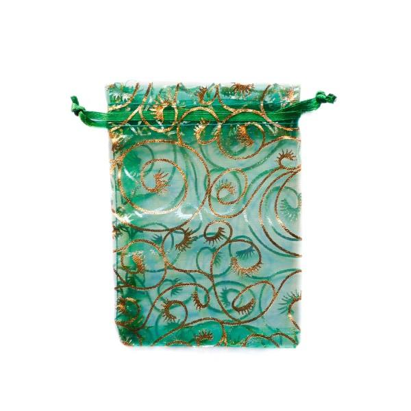 Sachet organza vert décoration plante