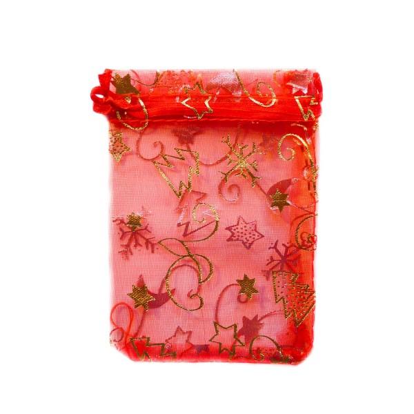 Sachet organza rouge décoration noël