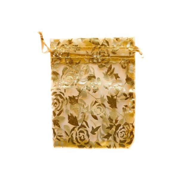 Sachet organza or décoration rose