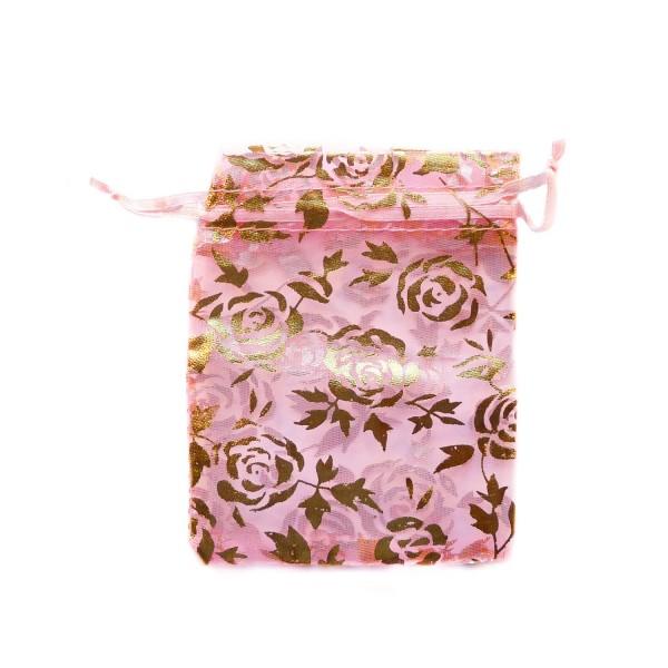 Sachet organza rose décoration rose