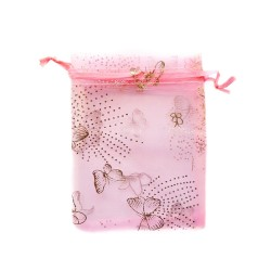 Pink organza bag with butterfly decoration