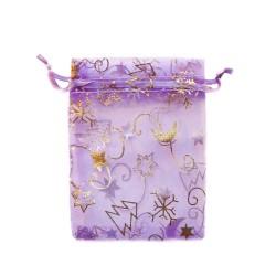 Organza Bolsa de decoración de navidad de color púrpura