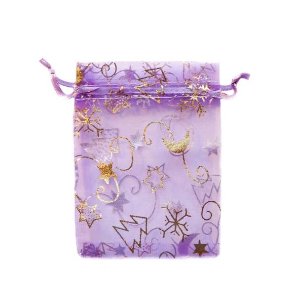 Sachet organza violet décoration noël