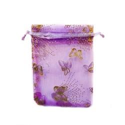 Organza Bolsa de decoración de mariposa púrpura