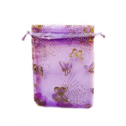 Purple organza bag with butterfly decoration
