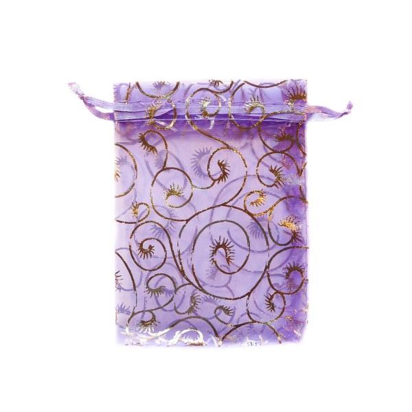 Sachet organza violet décoration plante