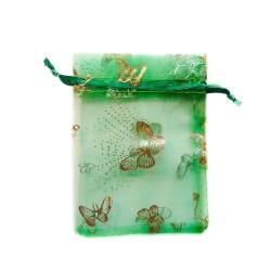Sachet organza vert décoration papillon