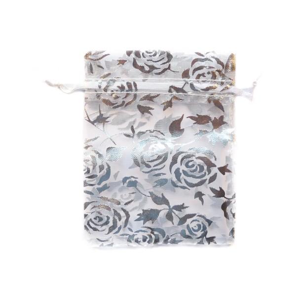 Sachet organza blanc décoration rose