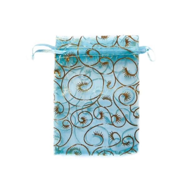 Sachet organza bleu décoration plante