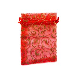 Sachet organza rouge décoration plante
