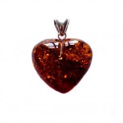 Gros coeur en ambre cognac