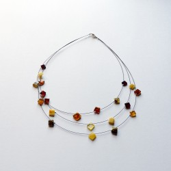 Multicolored amber necklace in the shape of a square