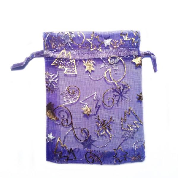 Sachet organza violet foncé décoration noël