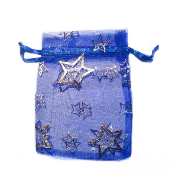 Sachet organza bleu décoration étoile
