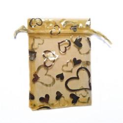 decorazione sacchetto di organza Oro Cuore