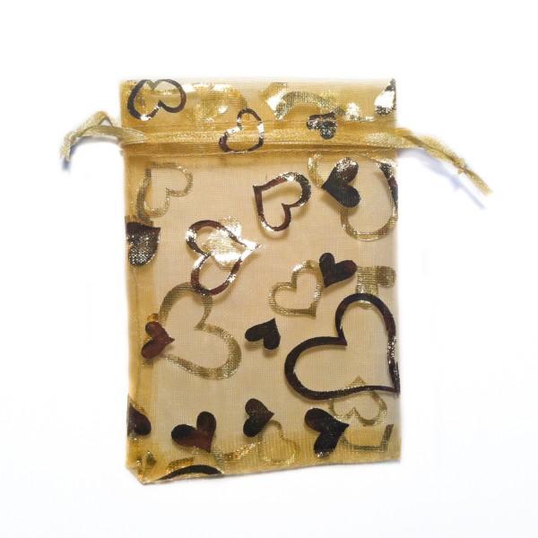 Sachet organza or décoration coeur