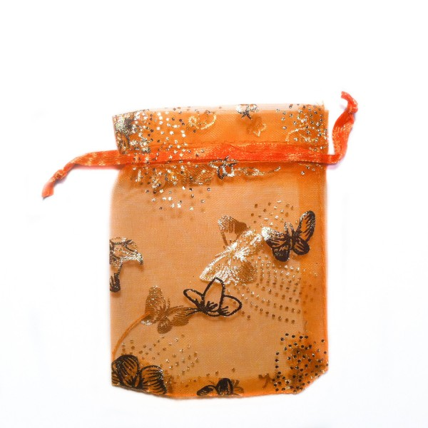 Sachet organza orange décoration papillon