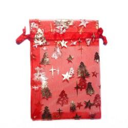 Organza Beutel rot Weihnachtsbaum mit Stern dekoriert