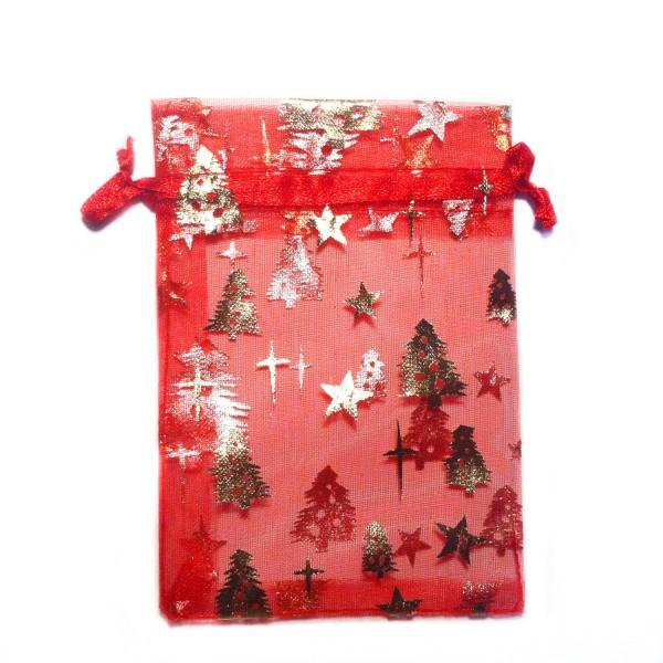 Sachet organza rouge décoration sapin de noël avec étoile